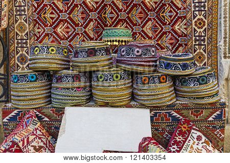 Traditional hats with hand-embroidered Azerbaijan colored cultures