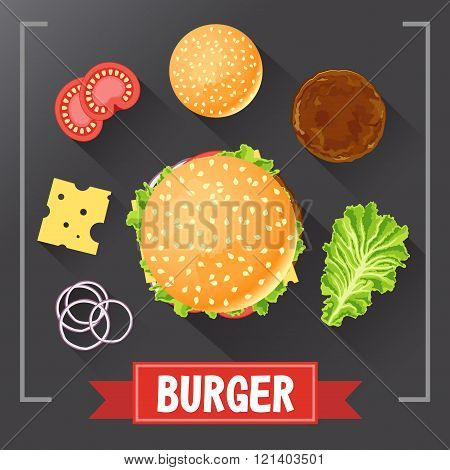 Burger ingredients. Burger parts on chalkboard. Burger with signed ingredients. Set food burger. Ori