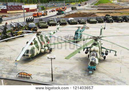 Helicopters And Other Military Equipment In The Museum