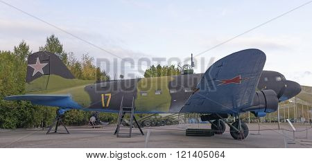 MOSCOW RUSSIA- OCTOBER 7- Li-2- military transport aircraft(In 1936 USSR buy license for Douglas DS-3) in the Central Museum of the Great Patriotic War on October 7; 2015 in Moscow
