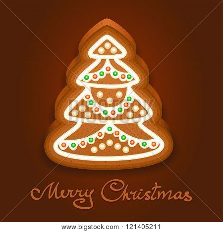 Gingerbread Christmas Tree Decorated Icing. Holiday Cookie In Shape Of Christmas Tree