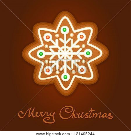 Gingerbread Christmas Snowflake Decorated Icing. Holiday Cookie In Shape Of Christmas Snowflake