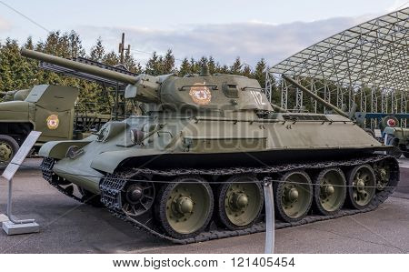 MOSCOW RUSSIA- OCTOBER 7- T-34- Medium tank (USSR) in the Central Museum of the Great Patriotic War on October 7; 2015 in Moscow