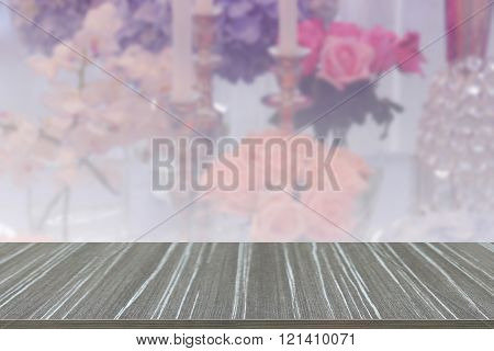 Empty Wooden Table With Wine Glass, Candlestick, Bunch Of Purple Hydrangea, Orange And Pink Rose And