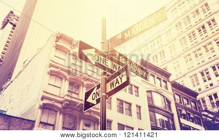 Vintage stylized street signs in Manhattan, New York, USA.