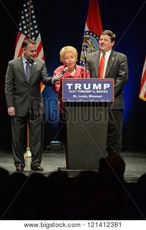 Saint Louis, MO, USA - March 11, 2016: Phyllis Schlafly salutes Donald Trump supporters at the Peabody Opera House in Downtown Saint Louis