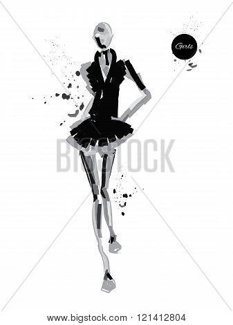 Vector fashion model. Vector sketch silhouette. Vector vintage lady. Dress pencil sketch. Vector fashion outline. Vector style lady. Vector fashion girl. Black fashion background.