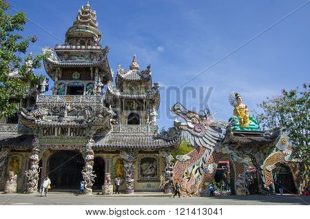 Dalat, Vietnam - January 9, 2015. Famous Mosaic Linh Phuoc Pagoda At Da Lat City, Lam Dong Province,