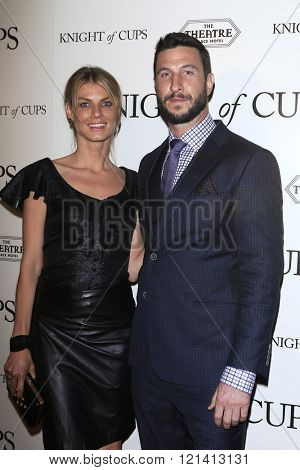 LOS ANGELES - MAR 1: Pablo Schreiber, Angela Lindvall attends the Premiere of Broad Green Pictures' 'Knight of Cups'  at The Theatre at Ace Hotel on March 1, 2016 in Los Angeles, California