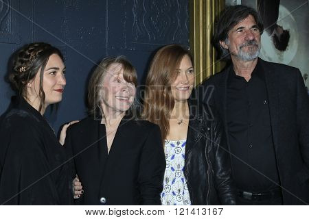 LOS ANGELES - MAR 1: Madison Fisk, Sissy Spacek, Schuyler Fisk, Jack Fisk at the Premiere of Broad Green Pictures' 'Knight of Cups'  at The Theatre at Ace Hotel on March 1, 2016 in Los Angeles, CA