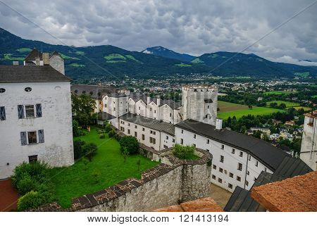 Medieval Hohensalzburg Castle (festung Hohensalzburg). Aerial View From Castle Tower To Castles Deta