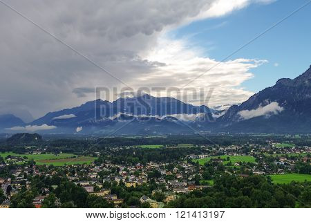 Mountain Landscape With Cloudy Sky From Tower Of Medieval Hohensalzburg Castle (festung Hohensalzbur