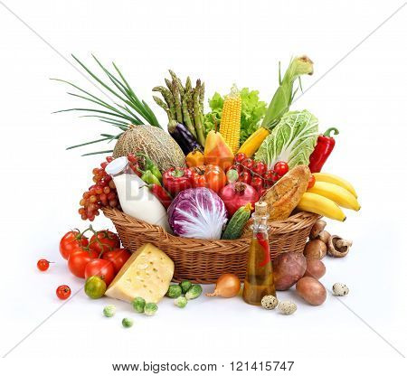 Big full basket of healthy food