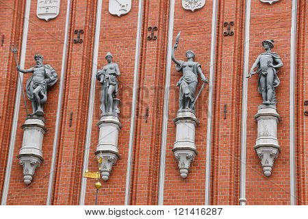 Architectural Detail Of The House Of The Blackheads In Riga. Latvia.