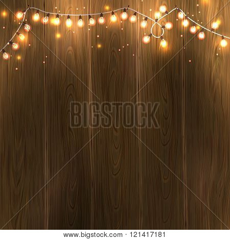 Christmas New Year design: wooden background with christmas lights garland. Vector illustration, eps