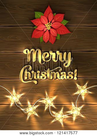 Christmas design - Merry Christmas. Xmas greeting with red poinsettia, golden lettering and christma