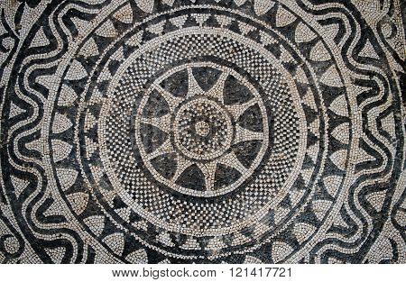 Risan, Montenegro ,March 12. 2016. Uprising sun, Roman floor mosaic