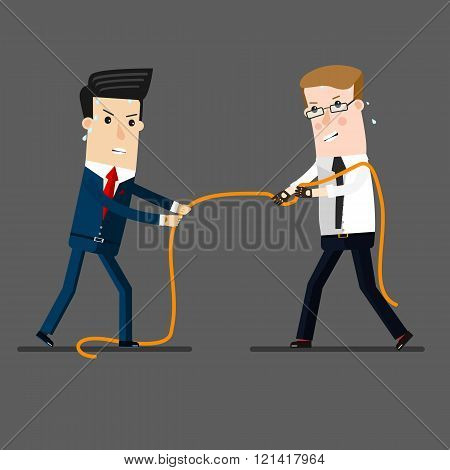 two businessmen in a tug of war battle, for leadership or business competition.  Business concept ca