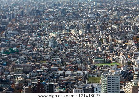 Aerial view Tokyo residence area, cityscape downtown