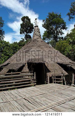 Native Bidayuh House In Sarawak Borneo
