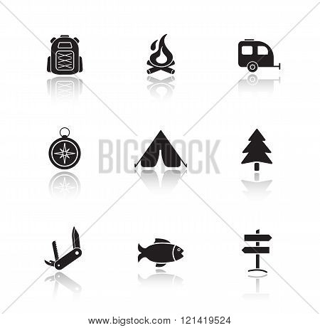 Campground equipment drop shadow icons set.