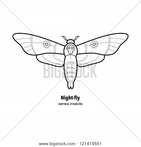Vector illustration insect moth. Insect in a modern style mono line isolated on a white background. Black and white image of an insect.
