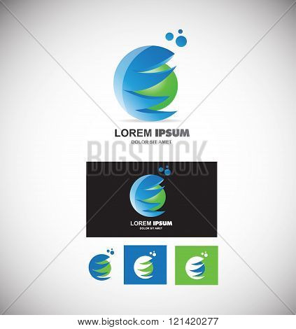 Blue Green Sphere Logo 3D