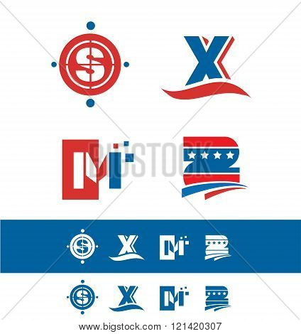 Blue Red Alphabet Letter Icon Logo Set