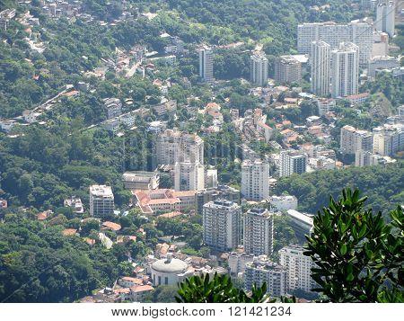 Spectacular panorama and aerial city view of Rio de Janeiro Brazil