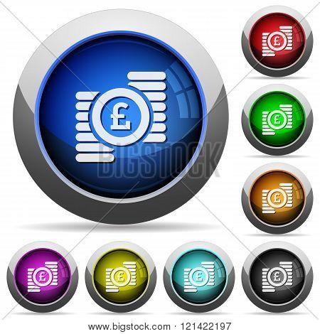 Pound Coins Button Set