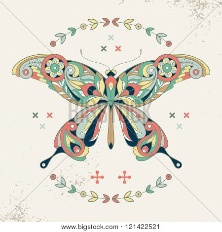Decorative vector illustration butterfly. Ornamental butterfly and wreath. Butterfly to create posters stickers printing on T-shirts. Hipster butterfly. The motives of Turkish cucumber. Vintage.