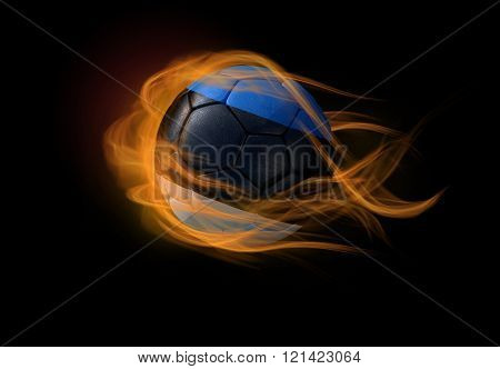 Soccer Ball With The National Flag Of Estonia, Making A Flame.