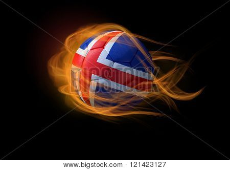 Soccer Ball With The National Flag Of Iceland, Making A Flame.