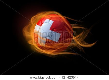 Soccer Ball With The National Flag Of Switzerland, Making A Flame.
