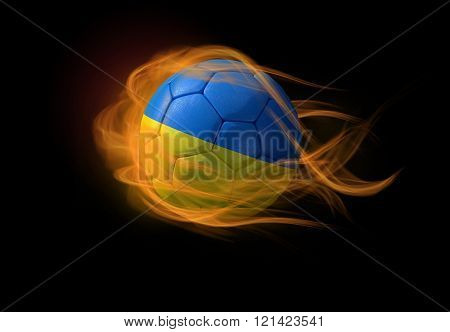 Soccer Ball With The National Flag Of Ukraine, Making A Flame.