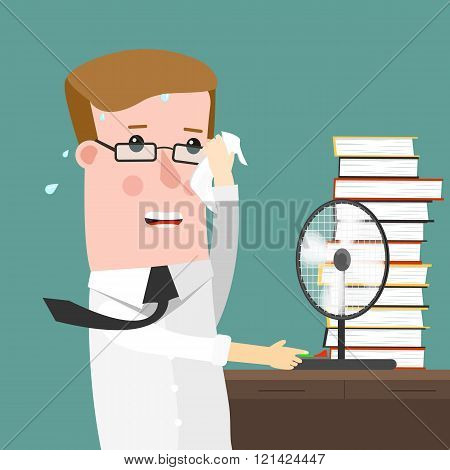 Illustration Featuring a businessman Sweating Profusely in His Office