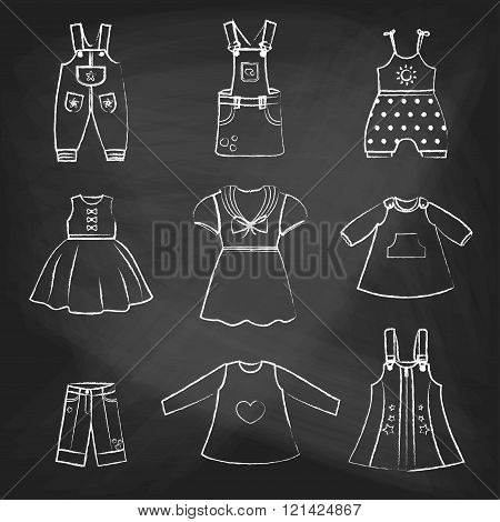 CHALK style icons. Set of cute dresses for the little girl. Collection of clothing in a linear style