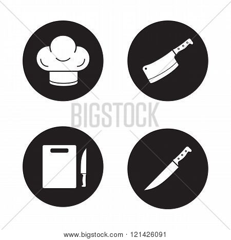 Chef cooking tools black icons set