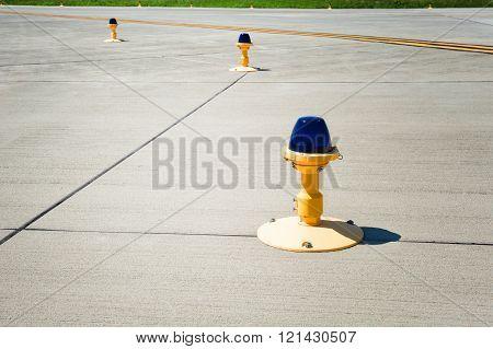 Landing lights on runway