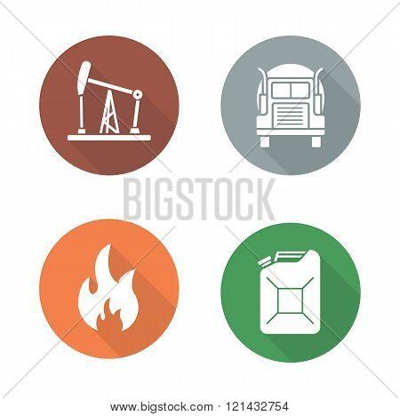 Gasoline flat design icons set