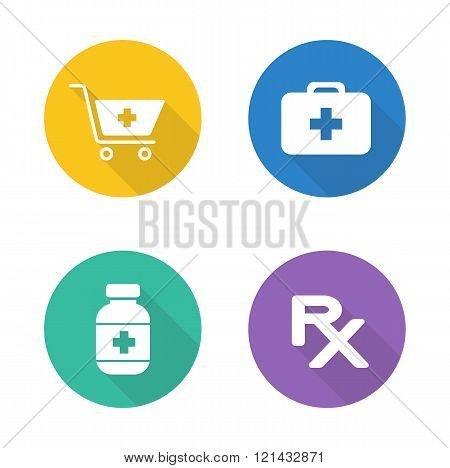 Pharmacy flat design icons set