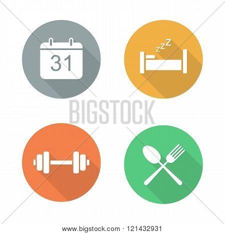 Everyday activities flat design icon set