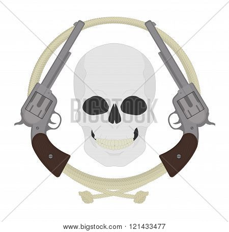 Skull with two revolvers and lasso emblem