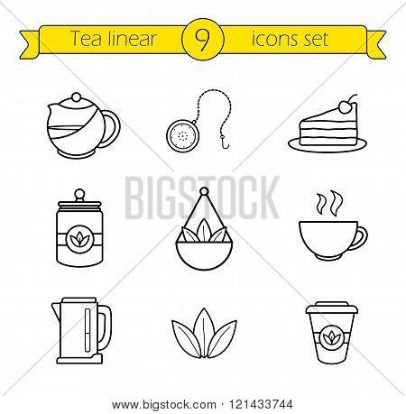 Tea accessories linear icons set