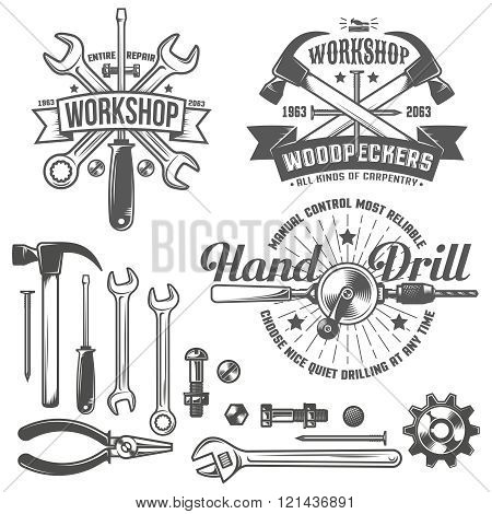 Vintage emblem repair workshop