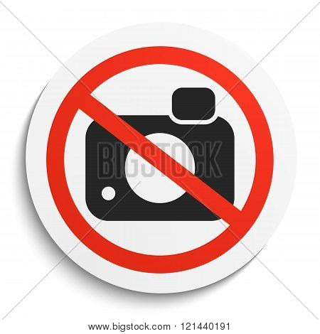 No Photos Sign On White Round Plate