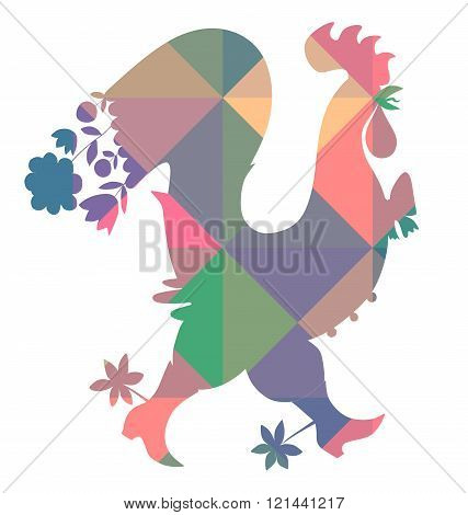 Decorative Vector Illustration Of Colorful Rooster. Chinese Symbol Of 2017 Year.