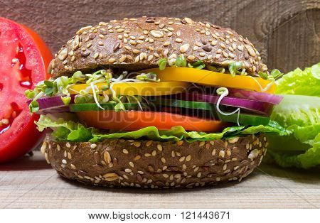Vegetarian Sandwich With Fresh Vegetables.