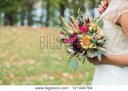 Bride with wedding bouqet
