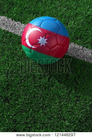 Soccer Ball And National Flag Of Azerbaijan,  Green Grass